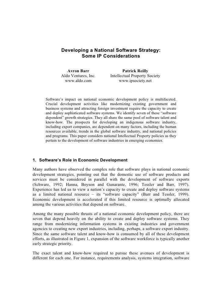 Developing a National Software Strategy:                         Some IP Considerations                     Avron Barr    ...