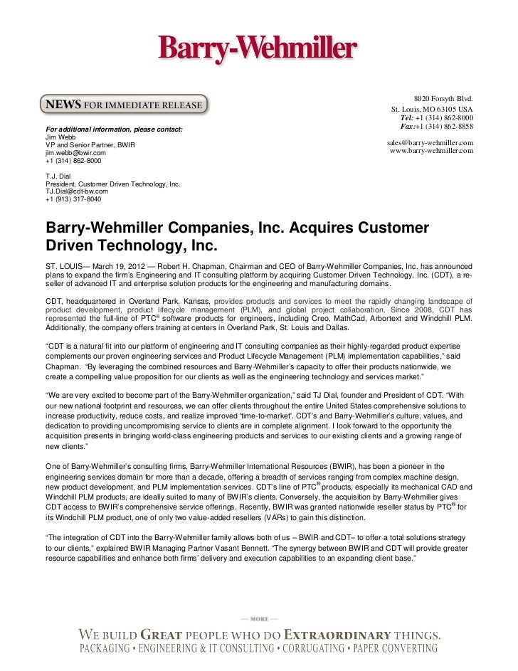 Barry Wehmiller Companies, Inc. acquires Customer Driven Technology, Inc.