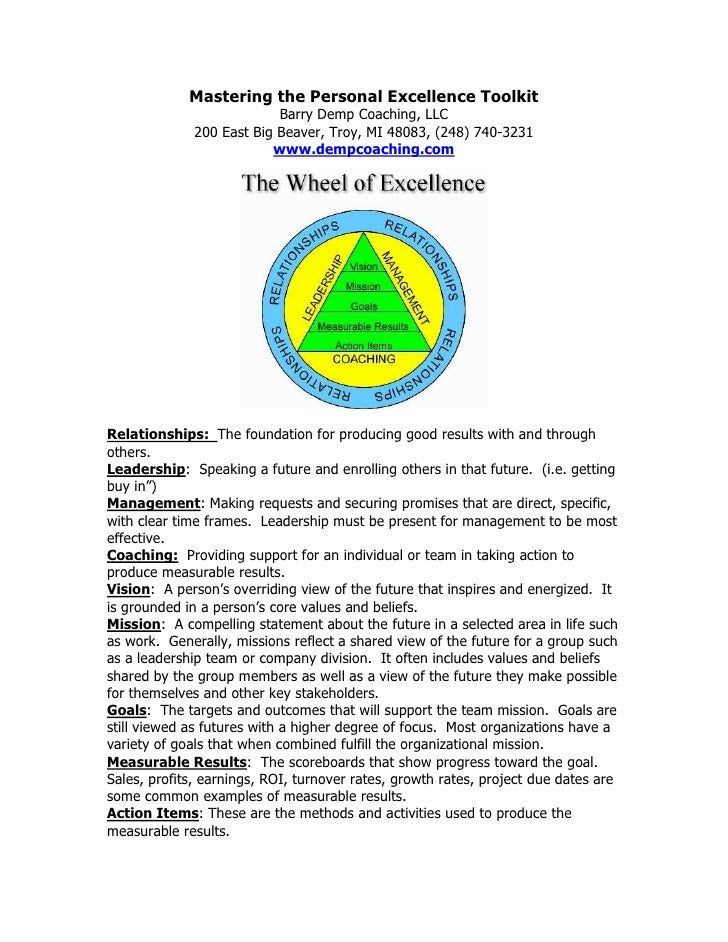 Mastering the Personal Excellence Toolkit                            Barry Demp Coaching, LLC               200 East Big B...