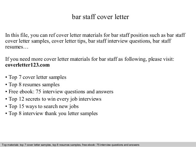 Bar Person Cover Letter Example Icoverorguk. Bar Worker Cover ...