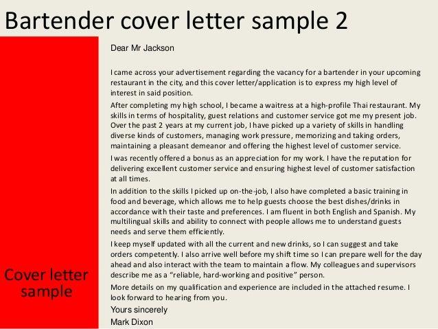 Restaurant Bartender Cover Letter