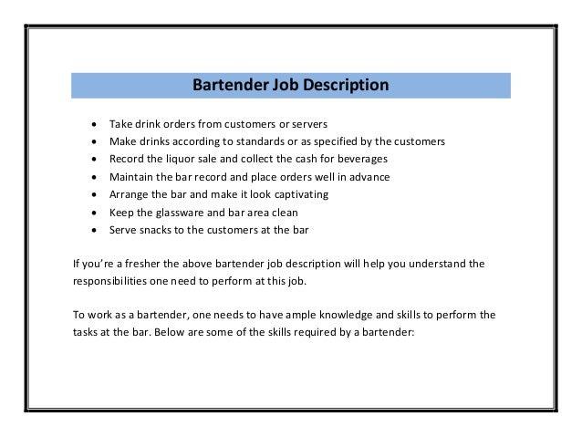 bartender duties resume job resumebartender resume template resume ...