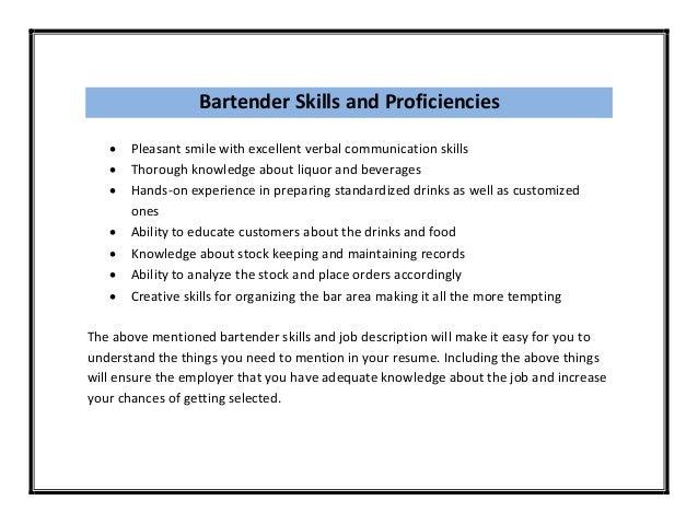 bar tending resume bartenders resume and resume skills bartending ...