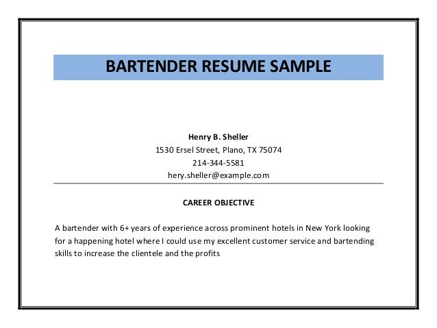 Example Of Bartender Resume  Bartender Resume Sample