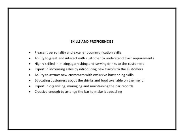 Doc.#23883111: How to Write a Bartender Resume – Awesome Sample ...