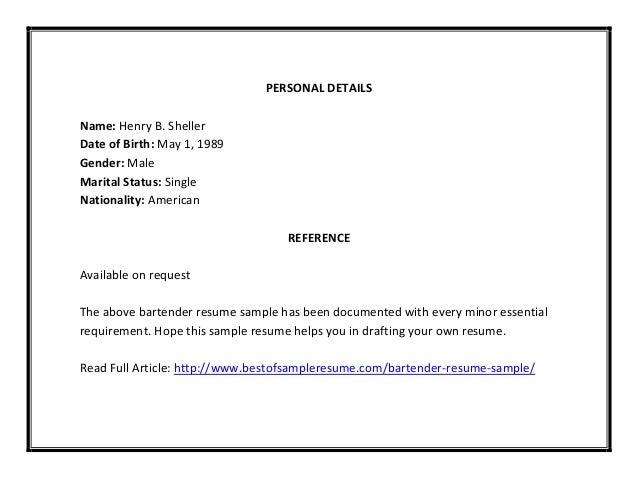 bartender resume sle pdf