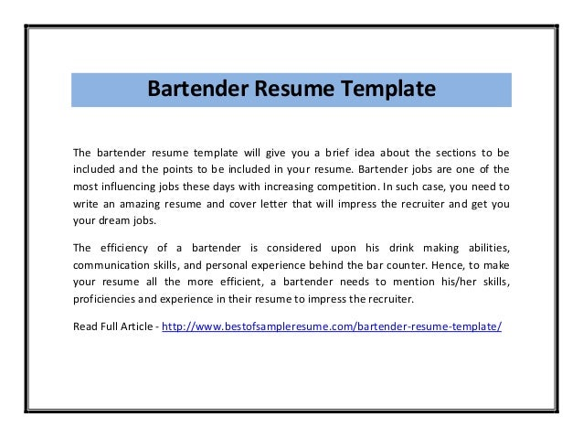 bartending new bartender resume - New Bartender Resume