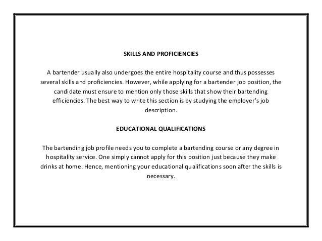 bartender resume description server and bartender resume