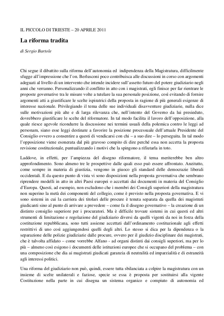 IL PICCOLO DI TRIESTE – 20 APRILE 2011La riforma traditadi Sergio BartoleChi segue il dibattito sulla riforma dell'autonom...