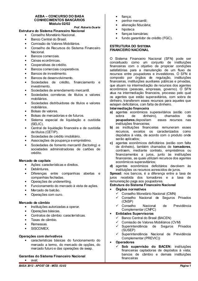 AEBA – CONCURSO DO BASA CONHECIMENTOS BANCÁRIOS Módulo 02/02 Prof. Roberto Duarte Estrutura do Sistema Financeiro Nacional...