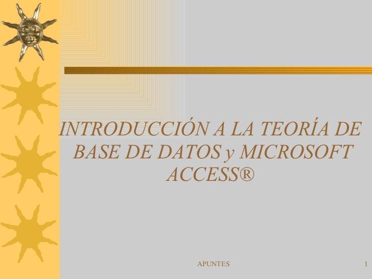 Introducción a Base de datos y  Access