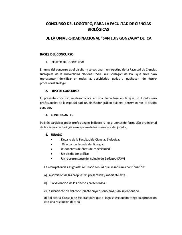 """CONCURSO DEL LOGOTIPO, PARA LA FACULTAD DE CIENCIAS BIOLÓGICAS DE LA UNIVERSIDAD NACIONAL """"SAN LUIS GONZAGA"""" DE ICA BASES ..."""