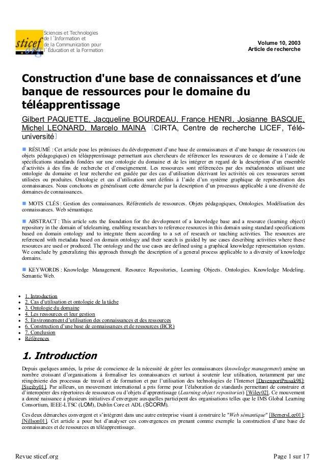 Sciences et Technologiesde l´Information etde la Communication pourl´Éducation et la FormationVolume 10, 2003Article de re...