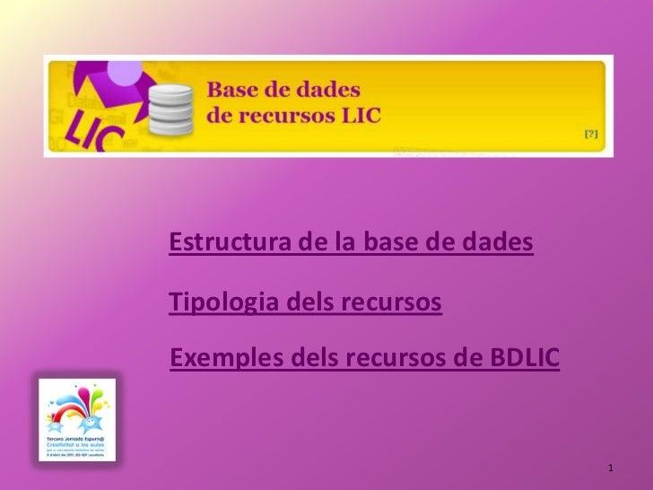 Estructura de la base de dadesTipologia dels recursosExemples dels recursos de BDLIC                                  1