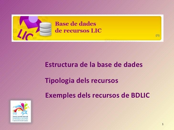 Estructura de la base de dades Tipologia dels recursos Exemples dels recursos de BDLIC