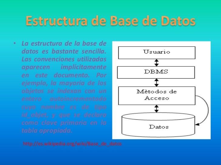 • La estructura de la base de  datos es bastante sencilla.  Las convenciones utilizadas  aparecen implícitamente  en este ...