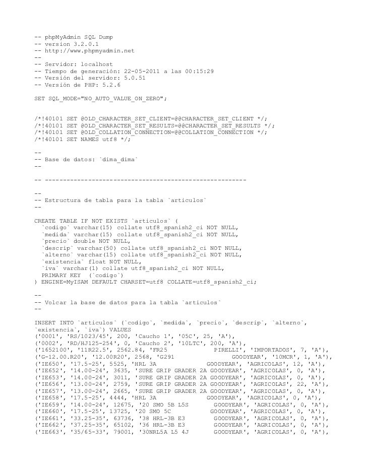 --   phpMyAdmin SQL Dump--   version 3.2.0.1--   http://www.phpmyadmin.net----   Servidor: localhost--   Tiempo de generac...