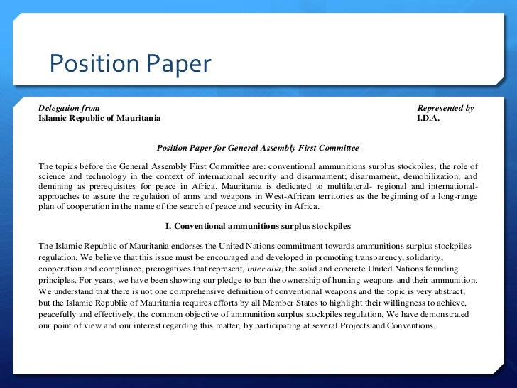 position paper Committee: international labor organization topic: globalization and development country: romania this sample position paper was submitted by the delegation of.