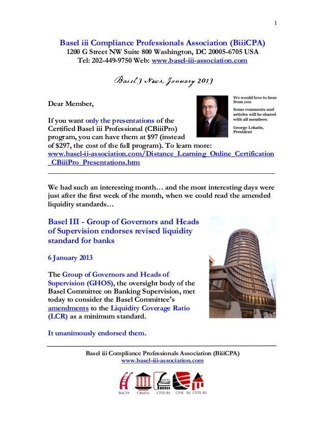 1   Basel iii Compliance Professionals Association (BiiiCPA)     1200 G Street NW Suite 800 Washington, DC 20005-6705 USA ...