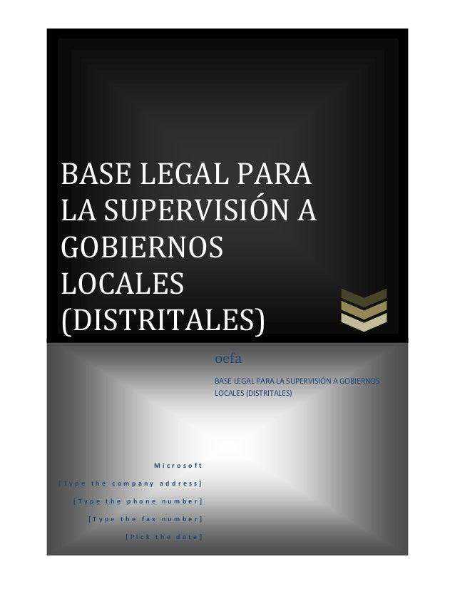 Base Legal Para la Supervisión EFA Distrital
