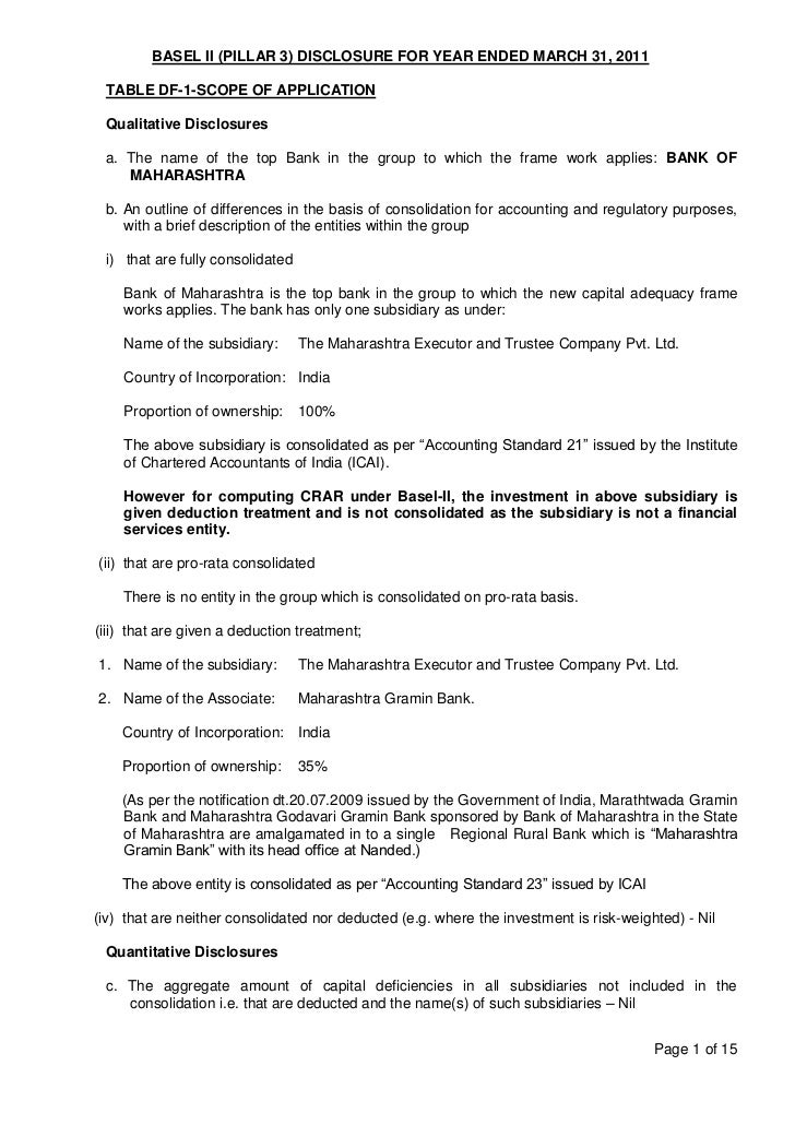 BASEL II (PILLAR 3) DISCLOSURE FOR YEAR ENDED MARCH 31, 2011 TABLE DF-1-SCOPE OF APPLICATION Qualitative Disclosures a. Th...