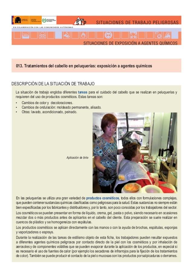 013. Tratamientos del cabello en peluquerías: exposición a agentes químicos DESCRIPCIÓN DE LA SITUACIÓN DE TRABAJO F Aplic...