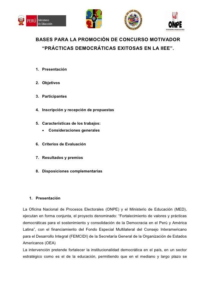 """BASES PARA LA PROMOCIÓN DE CONCURSO MOTIVADOR           """"PRÁCTICAS DEMOCRÁTICAS EXITOSAS EN LA IIEE"""".           1. Present..."""