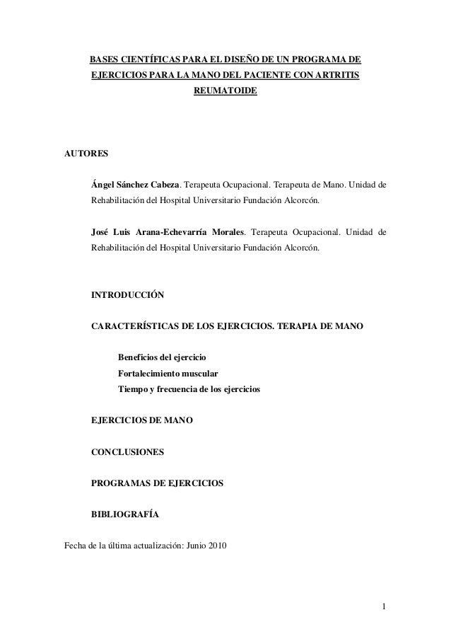BASES CIENTÍFICAS PARA EL DISEÑO DE UN PROGRAMA DE EJERCICIOS PARA LA MANO DEL PACIENTE CON ARTRITIS REUMATOIDE  AUTORES  ...