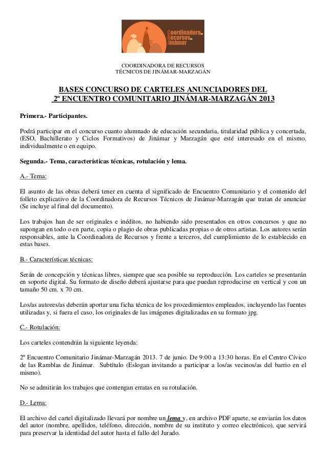 COORDINADORA DE RECURSOS                                    TÉCNICOS DE JINÁMAR-MARZAGÁN               BASES CONCURSO DE C...