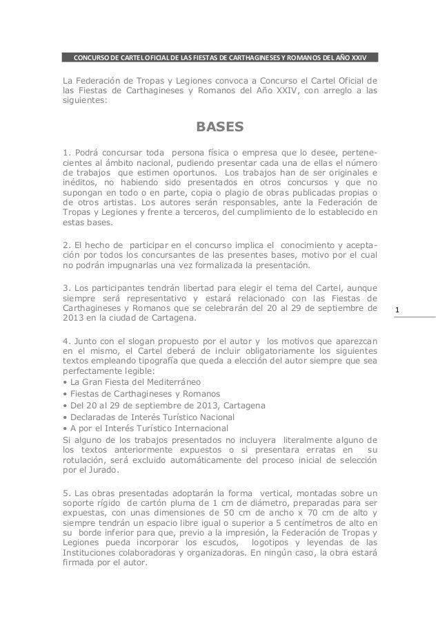 CONCURSO DE CARTEL OFICIAL DE LAS FIESTAS DE CARTHAGINESES Y ROMANOS DEL AÑO XXIVLa Federación de Tropas y Legiones convoc...