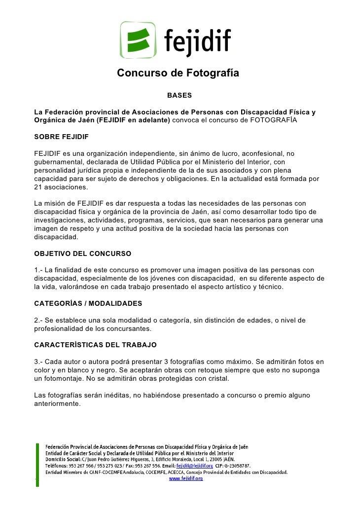 Concurso de Fotografía                                         BASESLa Federación provincial de Asociaciones de Personas c...