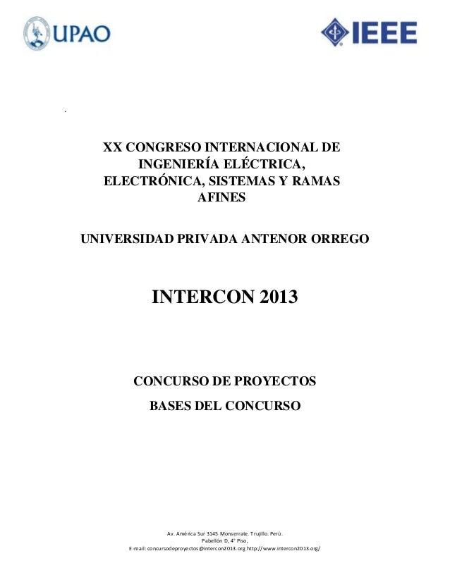 Bases concurso de proyectos intercon 2013