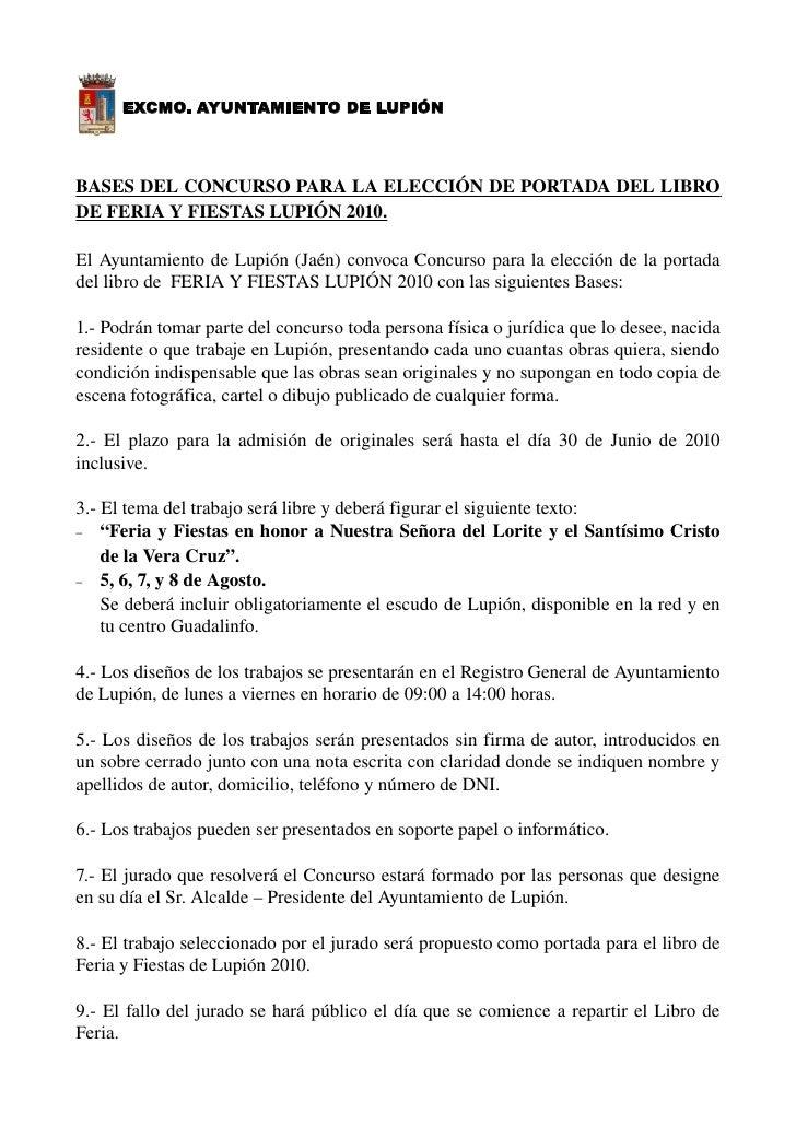 EXCMO. AYUNTAMIENTO DE LUPIÓN     BASESDELCONCURSOPARALAELECCIÓNDEPORTADADELLIBRO DEFERIAY...