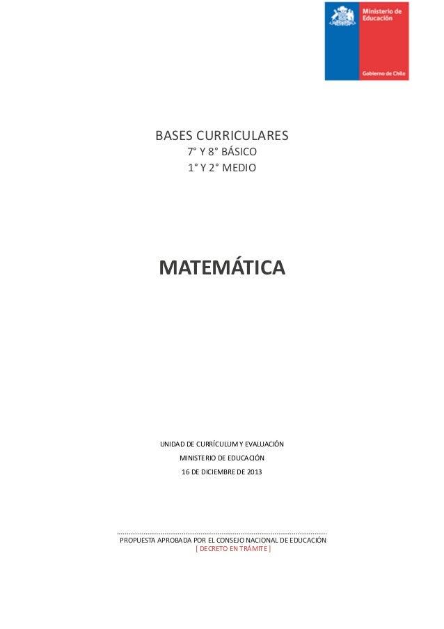 Bases curriculares 7° a 2° medio matematica