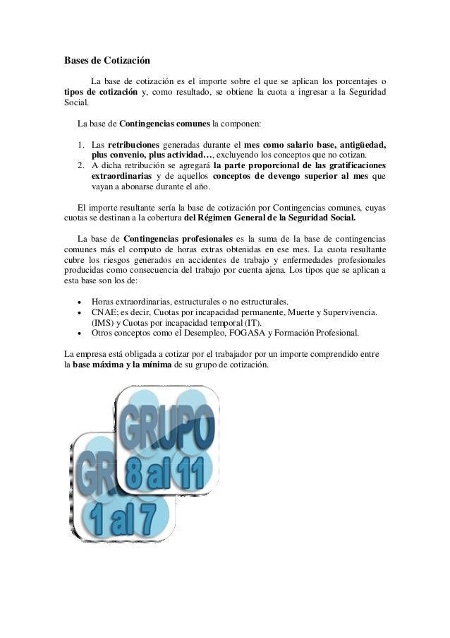 Bases de cotizacion de la seguridad social 2014