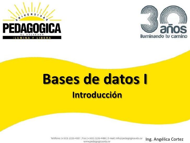 Bases de datos I    Introducción                   Ing. Angélica Cortez