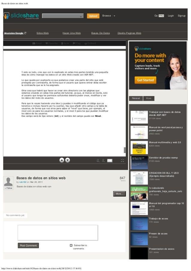Bases de datos en sitios web                                                                                Enviar consult...