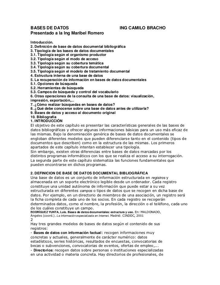 BASES DE DATOS                                           ING CAMILO BRACHOPresentado a la Ing Maribel RomeroIntroducción.2...