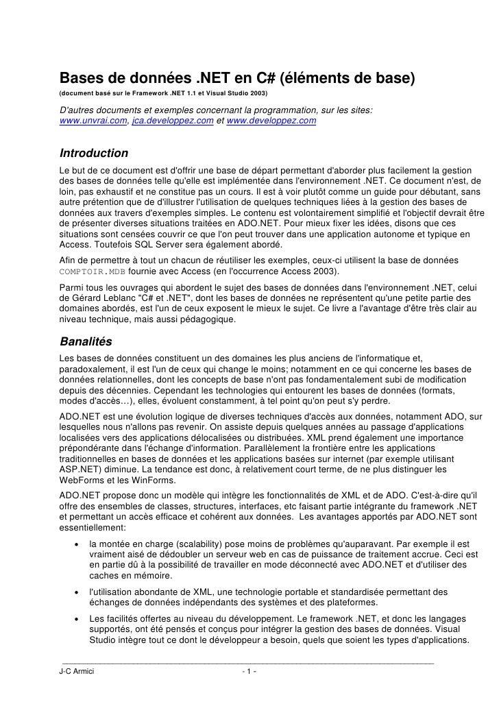 Bases de données .NET en C# (éléments de base)(document basé sur le Framework .NET 1.1 et Visual Studio 2003)Dautres docum...