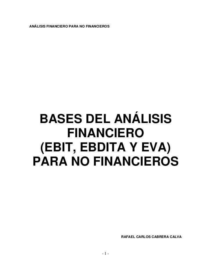 Bases del análisis financiero (ebit, ebitda y eva) para no financieros