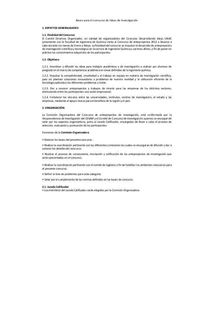 Bases para el concurso de Ideas de Investigación1. ASPECTOS GENERALIDADES:1.1. Finalidad del Concurso:El Comité Directivo ...