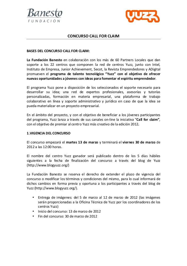 "Bases del concurso ""Call for claim"""