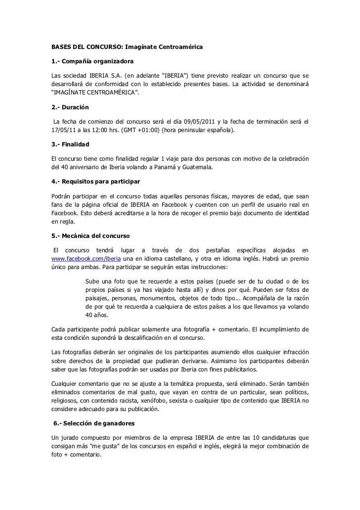 """BASES DEL CONCURSO: Imagínate Centroamérica1.- Compañía organizadoraLas sociedad IBERIA S.A. (en adelante """"IBERIA"""") tiene ..."""