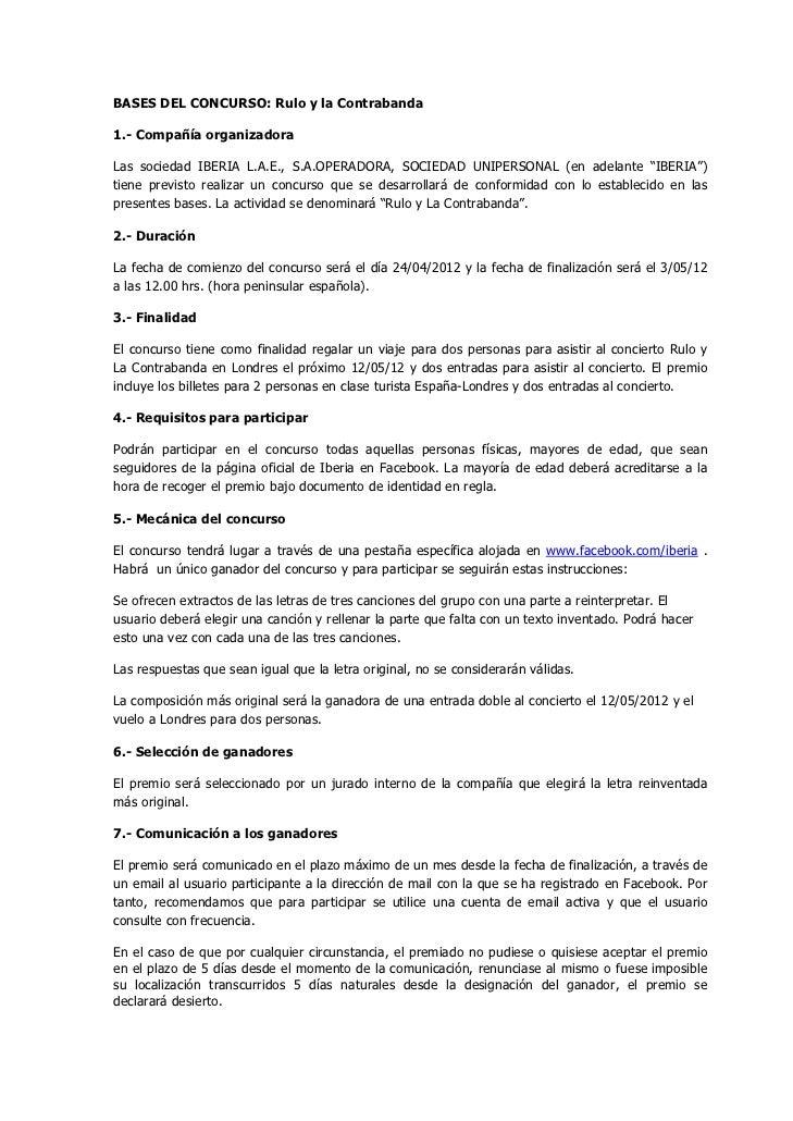 BASES DEL CONCURSO: Rulo y la Contrabanda1.- Compañía organizadoraLas sociedad IBERIA L.A.E., S.A.OPERADORA, SOCIEDAD UNIP...