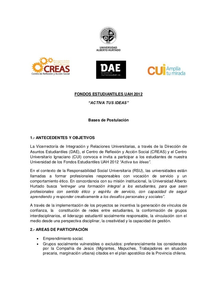 "FONDOS ESTUDIANTILES UAH 2012                                  ""ACTIVA TUS IDEAS""                                  Bases d..."
