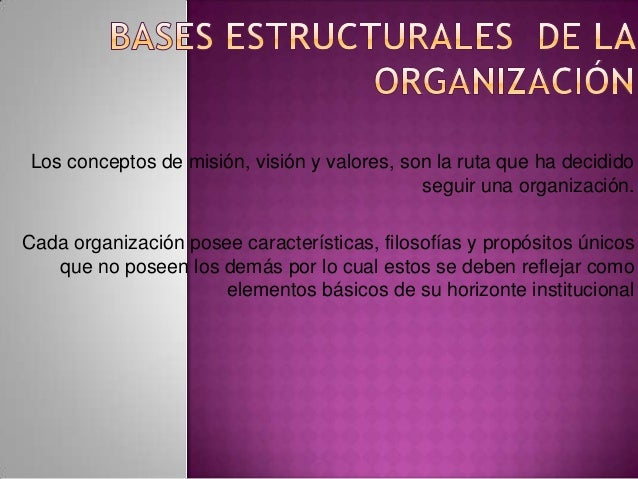 Los conceptos de misión, visión y valores, son la ruta que ha decidido seguir una organización. Cada organización posee ca...