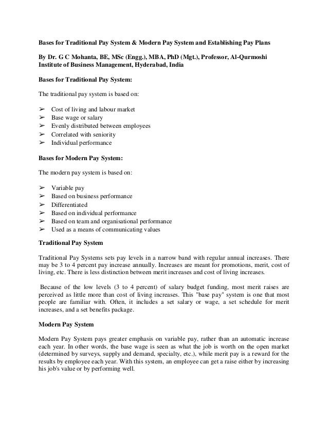 Bases for Traditional Pay System & Modern Pay System and Establishing Pay Plans By Dr. G C Mohanta, BE, MSc (Engg.), MBA, ...