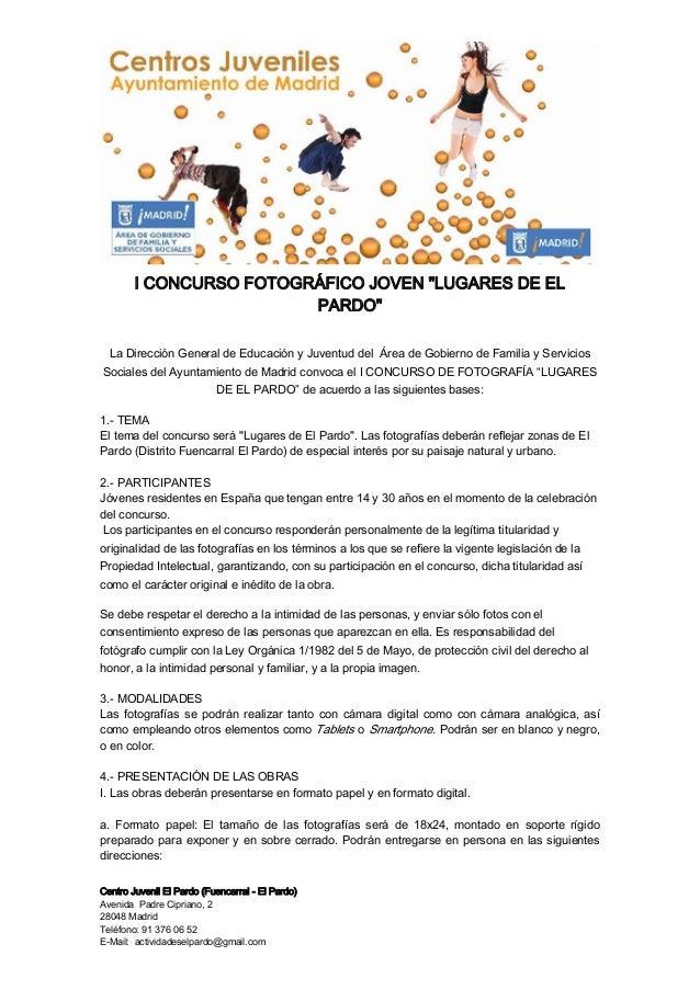 """I CONCURSO FOTOGRÁFICO JOVEN """"LUGARES DE EL                         PARDO""""  La Dirección General de Educación y Juventud d..."""