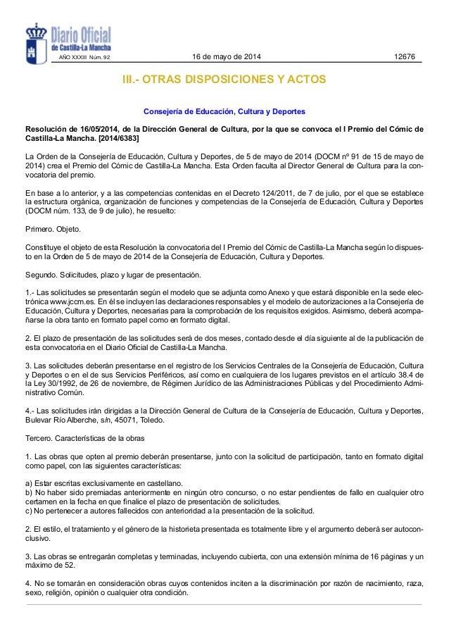 III.- OTRAS DISPOSICIONES Y ACTOS Consejería de Educación, Cultura y Deportes Resolución de 16/05/2014, de la Dirección Ge...