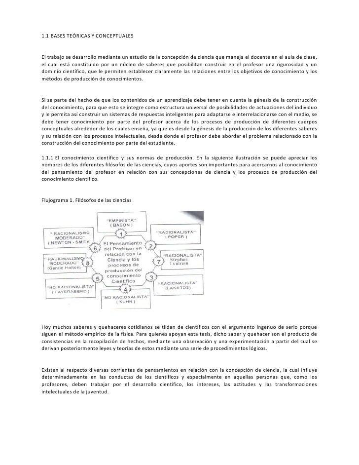 1.1 BASES TEÓRICAS Y CONCEPTUALESEl trabajo se desarrollo mediante un estudio de la concepción de ciencia que maneja el do...